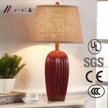European Hotel Decorative Red Ceramic Bedside Table Lamp