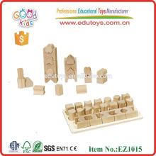 EZ1015 Good Quality 20 pieces Geometric Shape Learning Wooden Blocks Set for kids