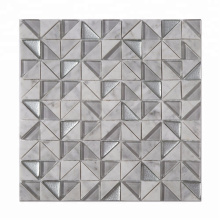 Factory owned Bianco Carrara Mixed Glass Triangle Mosaic Tile