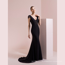 Black Short Lace Sleeve Satin Mermaid Evening Gown