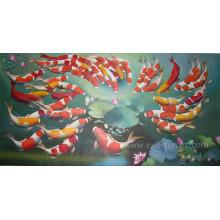 Handgemachte Segeltuch-Kunst-Fisch-Malerei