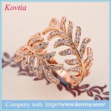 2016 gemstone suavização máquina mimosa anéis de jóias banhado a ouro anel de cristal
