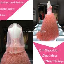 2015 мода прекрасный милая из бисера спинки с плеча свадебные платья/новое прибытие высокого качества свадебное вечернее платье