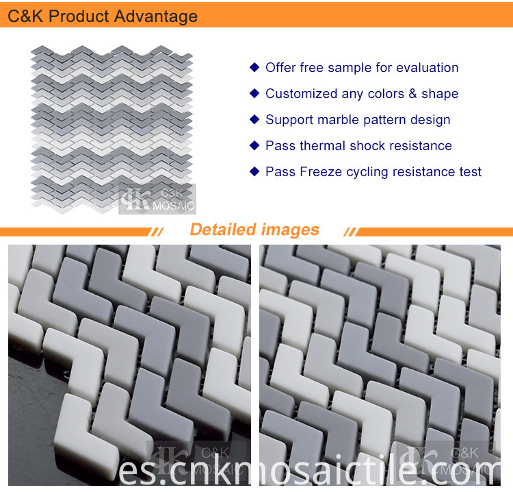 Shading Grey Decorate Chevron Tiles Glass Mosaic