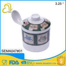 ODM cutomized inquebrável melamina açúcar pot caneca com colher
