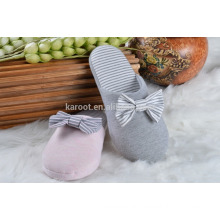 adult warm bowknot fuzzy plush indoor slipper