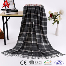 Classical plaid very warm 100% woven acrylic warm blanket wholesale