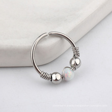 Boho Style Stainless Steel Twisted Conch Piercing Opal Cartilage Hoop Ring