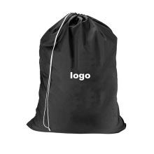 Light weight durable Travel Polyester Nylon Large Hotel Wash Drawstring Laundry bag with printed logo