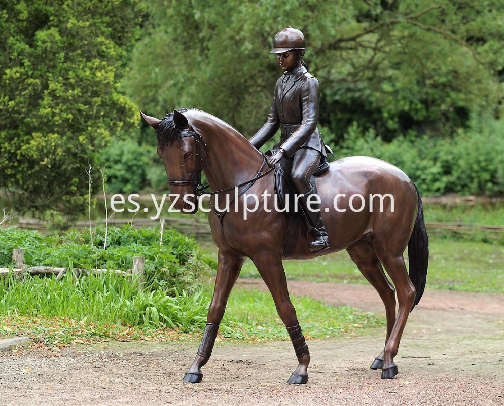 Bronze Lady Riding Horse Statue for Garden Decoration