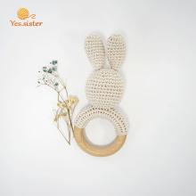 Мягкое Деревянное Кольцо Крючком Bunny Rattle Toys
