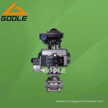 Válvula de esfera rosqueada pneumática 3PC de aço inoxidável (GAQ611F)