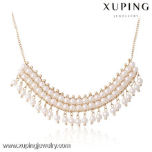 42667- Xuping perlée perles blanches bijoux collier gland conception