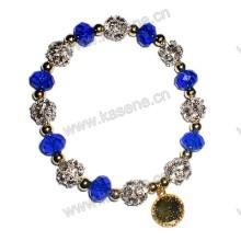 Pulseira Beads, Acrílico Pulseira Rhinestone 10 milímetros Blue Flat Crystal Bead