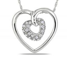 Double Heart 925 Sterling Silver Pendants Necklace Jewelry for Women