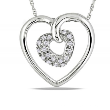 Double Heart 925 Sterling Silver Pendants Necklace Jewelry for Women