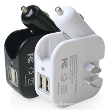 2 in 1 Dual USB Port Car Charger Home Wall Charger with Foldable Au Plug