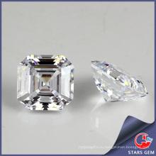 Высокое качество Asscher Cut квадратный белый кубический цирконий