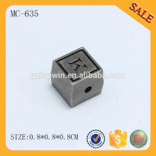 MC635 Nouveau design double face carré gravé personnalisé logo perles métalliques pour bracelet