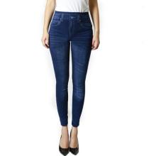 Pantalons jeans extensibles en élasthanne féminin de haute qualité pliant les jambières (SR8210)