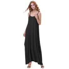 Катя Касин женские случайные свободные тонкие лямки черный Бохо шаровары платье KK000712-1
