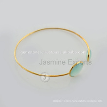 Designer Vermeil Gold Chalcedony Gemstone Charm Lovely Bangle For Women