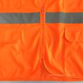 Multi-Taschen Reißverschluss Mesh Solid Stoff Sicherheitsweste mit ANSI 107 Reflektor Band