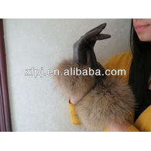 Persönlichkeit Lady edle Lederhandschuhe mit Fuchspelz