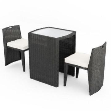 Mobilier de jardin en rotin de jardin brun avec 2 sièges