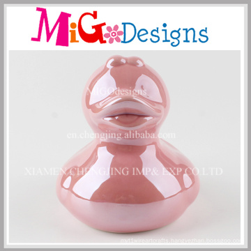 Hot Sale Duck Shaped Kid′s Gifts Ceramic Coin Bank