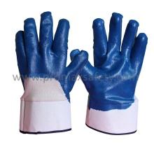 Jersey Cotton Liner Blaue Nitrilbeschichtete Handschuhe mit offenem Rücken