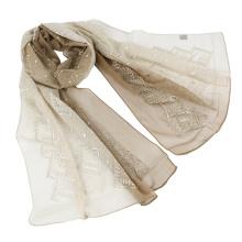 Dos tonos de color emboidery seda bufanda malasia con lentejuelas