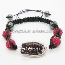 Pingente de cristal tecido pulseira Woven Garnet chip pedra preciosa árvore de sorte e 10MM Pink Crystal pulseira de esferas de tecido