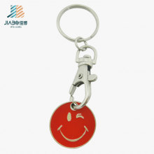Personalize a moeda vermelha Keychain do trole da cara do smiley do ofício do metal do logotipo com gancho do cão