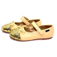 Muchachas niño niño dulce oro princesa vestido zapatos escuela
