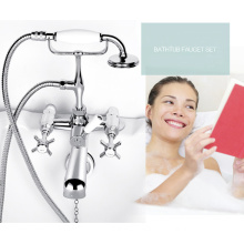 Traditional wall mounted bath shower mixer with ceramics show arm
