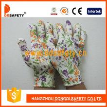 13 Gauge Flower Design Seamless PVC Dots Gloves Dkp422