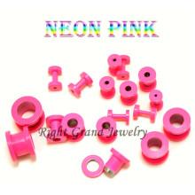 Fancy Neon Pink Anodized 316L Steel Ear Plug Gauges