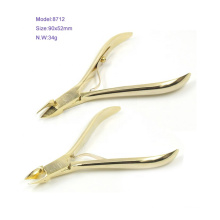 Factory Directly Sales 8712 Full Gold Plating Double Spring Nail Cuticle Nipper Sharpener
