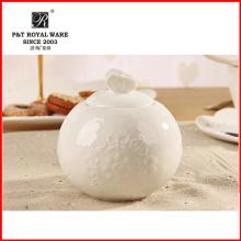 Elegante patrón de utensilios de cocina de porcelana fina de azúcar blanco olla, crema olla, tarro de azúcar