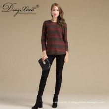 Nouveau design mode câble tricot cachemire outwear O cou à manches longues cavalier femelle