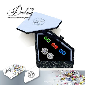 Destino joias cristais de Swarovski brincos de flor de combinação