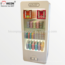 Floor Standing Wood Metal Cosmetic Cabinet And Showcase Facial Mask Led Illuminated Display Case