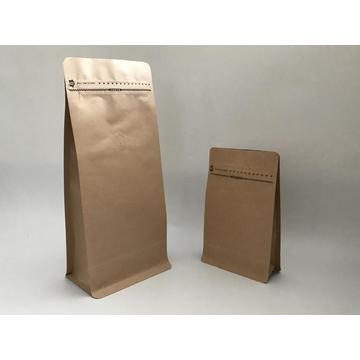 Kraft Paper Flat Bottom Pouch dengan Pocket Zipper