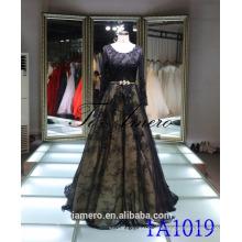 1A1019 Reizvolles schwarzes Spitze-langes Hülsen-Backless gezeichnetes Abschlussball-Kleid-Abend-Kleid
