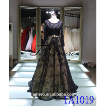 1A1019 Sexy Black Lace Long Sleeve Backless Trailed Prom Dress Evening Dress