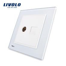 Fabriquer le panneau en verre de cristal blanc de luxe de Livolo 2 groupes muraux de réseau informatique RJ45 et prises TV VL-W292VC-12