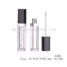 A195 8ml cuadrado negro tapón vacío lipgloss tubo plástico vacío esponja lipgloss contenedor