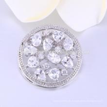 hohe Qualität Blume runde Form 925 Sterling Silber Schmuck Broschen für Hochzeit