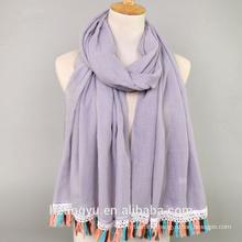 Fashion women whosale new arrival solid color turkish fancy cotton plain viscose tassel hijabs